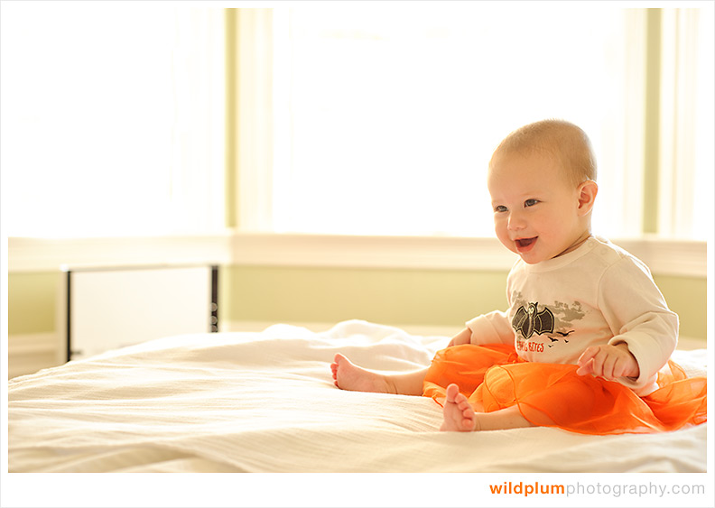 Baby in orange tutu